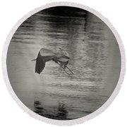 Blue Heron In Platinum Round Beach Towel