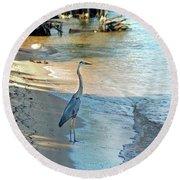 Blue Heron On The Beach Round Beach Towel