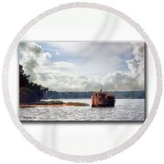 Blue Heron On The Duck Blind Round Beach Towel