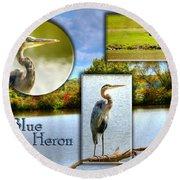 Blue Heron Pose Round Beach Towel