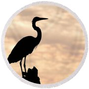 Blue Heron Silhouette Round Beach Towel