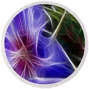 Blue Hibiscus Fractal Panel 1 Round Beach Towel