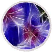 Blue Hibiscus Fractal Panel 4 Round Beach Towel
