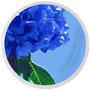 Blue Hortensia Hydrangea Round Beach Towel