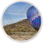 Blue Hot Air Balloon On The Desert  Round Beach Towel