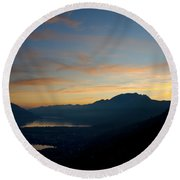 Blue Hour Over The Mountain Round Beach Towel
