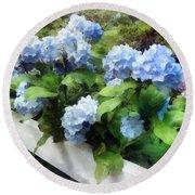 Blue Hydrangea On White Fence Round Beach Towel