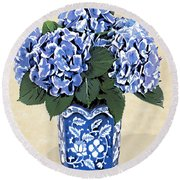 Blue Hydrangeas In A Pot On Parchment Paper Round Beach Towel