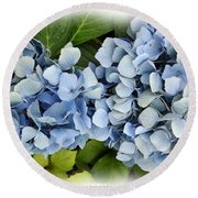 Blue Hydrangeas With Watercolor Effect Round Beach Towel