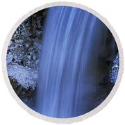 Blue Icy Waterfall Round Beach Towel