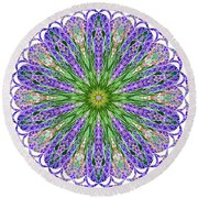 Blue Lavender Floral Kaleidoscope Round Beach Towel