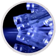 Blue Led Lights Closeup With Reflection Round Beach Towel