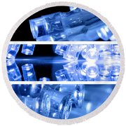 Blue Led Lights In Three Strips Round Beach Towel