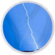 Blue Lightning Round Beach Towel