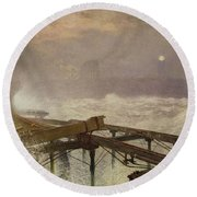 Blue Lights - Teignemouth Pier Round Beach Towel