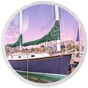 Blue Moon Harbor II Round Beach Towel by Betsy Knapp