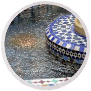 Blue Mosaic Fountain I Round Beach Towel