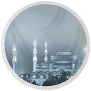 Blue Mosque In Blue Mist Round Beach Towel