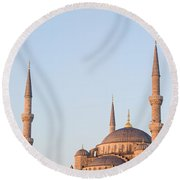 Blue Mosque In Istanbul Round Beach Towel