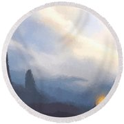 Blue Mountains  Round Beach Towel by Pixel  Chimp