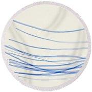 Blue Nylon Fibers Round Beach Towel