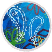 Blue Paisley Garden Round Beach Towel