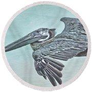 Blue Pelican Round Beach Towel