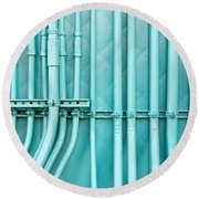 Blue Pipes Round Beach Towel by Tom Gowanlock
