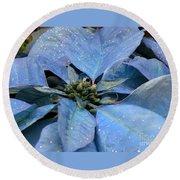 Blue Poinsettia Round Beach Towel