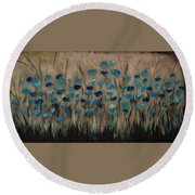 Blue Poppies And Gold Wheat Round Beach Towel