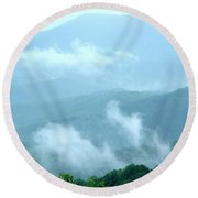 Blue Ridge Fog High Round Beach Towel