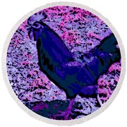 Blue Rooster Round Beach Towel
