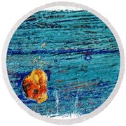 Blue Rusted Steel Painted Background Round Beach Towel