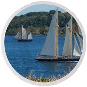 Blue Schooner 03 Round Beach Towel