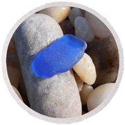 Blue Sea Glass Round Beach Towel
