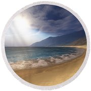 Blue Seas And Radient Sun Shine In This Round Beach Towel