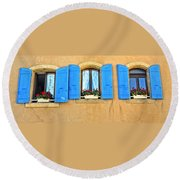 Blue Shutters In Provence Round Beach Towel