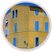 Blue Shutters Martigues France Round Beach Towel