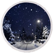 Blue Silent Night Round Beach Towel
