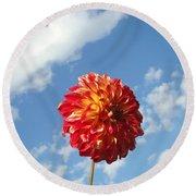 Blue Sky Nature Art Prinst Red Dahlia Flower Round Beach Towel