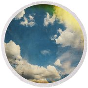 Blue Sky On Old Grunge Paper Round Beach Towel