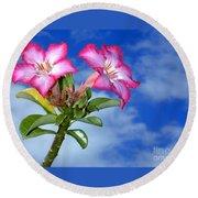 Blue Sky Pink Flower Round Beach Towel