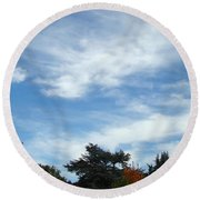 Blue Sky White Clouds Autumn Prints Round Beach Towel
