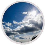 Blue Sky With Clouds Round Beach Towel