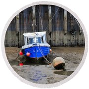 Blue Small Boat Round Beach Towel