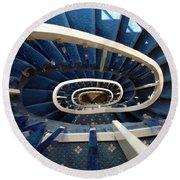 Blue Spiral Stairsway Round Beach Towel