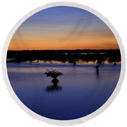 Blue Sunset Mangroves Round Beach Towel