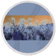Blue Trees New Mexico Round Beach Towel