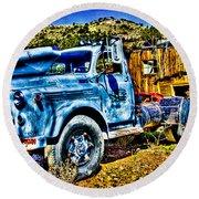 Blue Truck Round Beach Towel