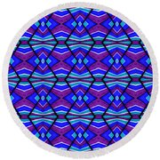 Blue Turquoise And Purple Round Beach Towel
